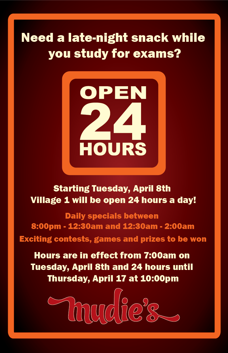 Open 24 hours during exams