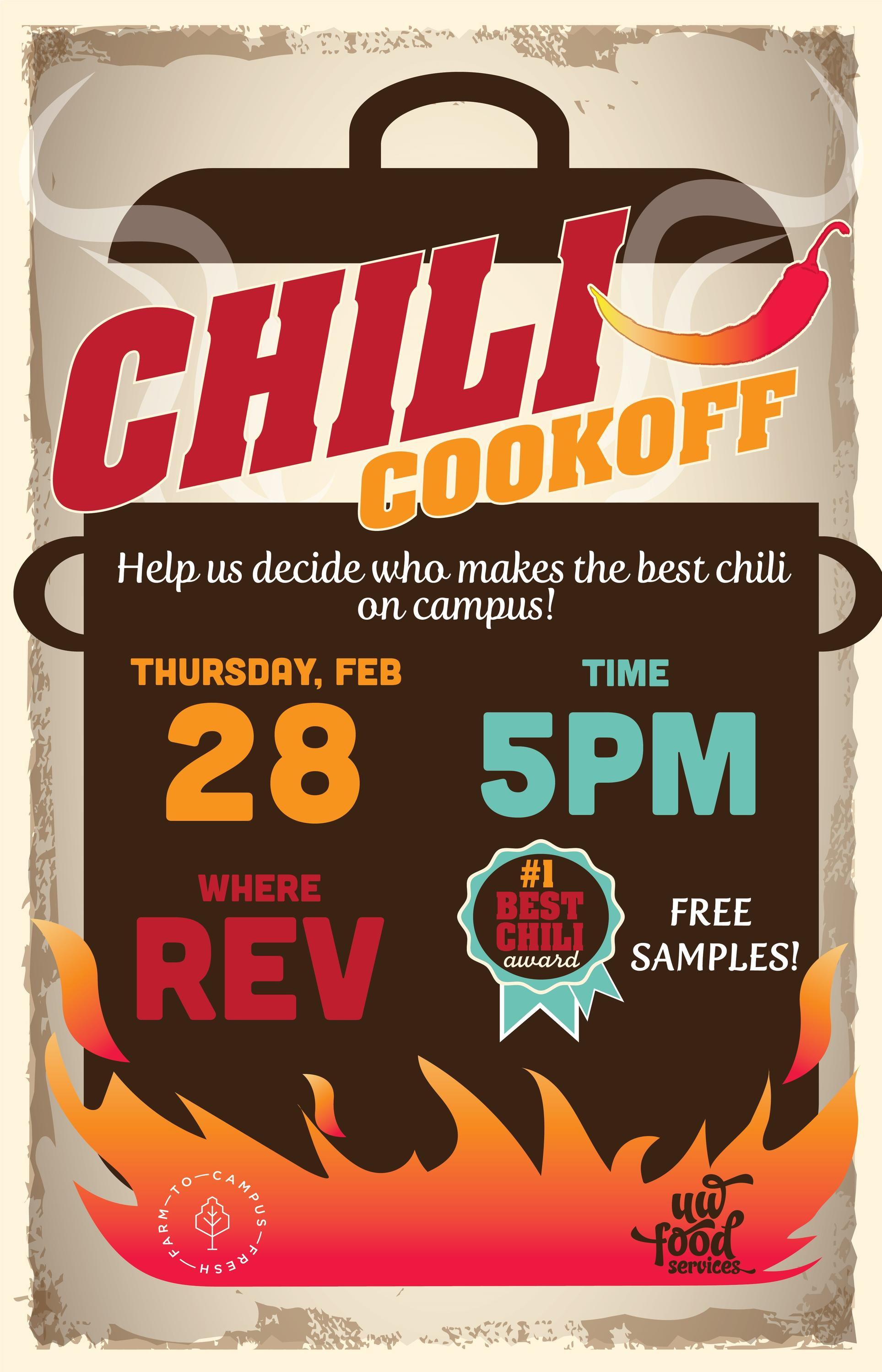 Chili Cookoff is at 5pm on February 28 at REV