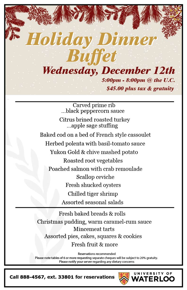 Menu for the Holiday Dinner Buffet at The University Club