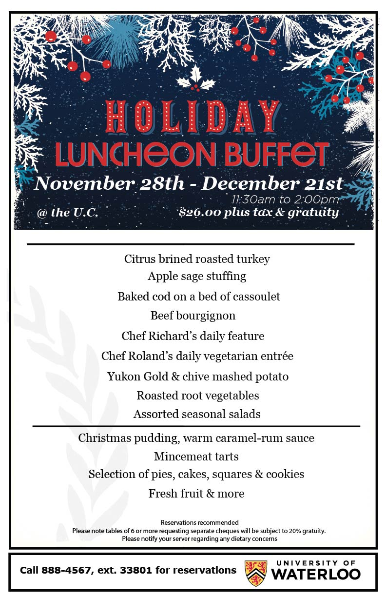 Holiday Luncheon Buffet Menu