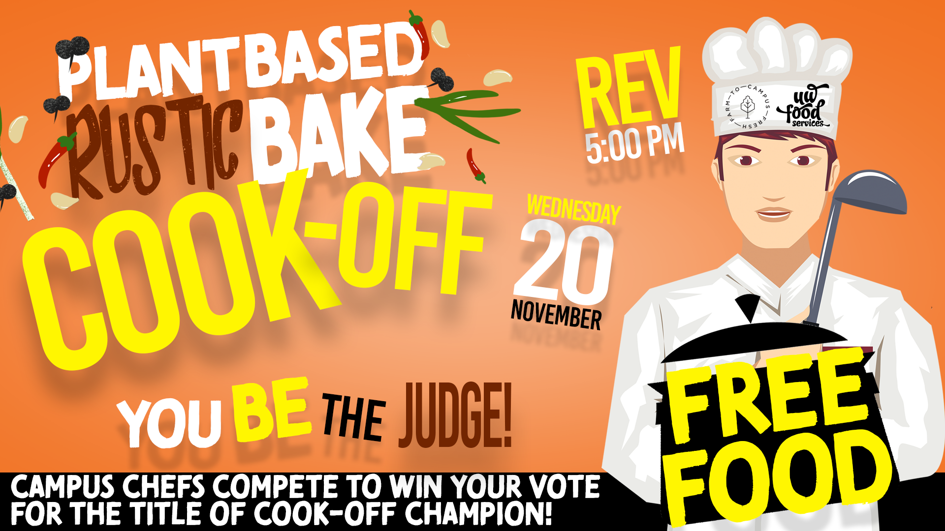plant based rustic cook off you be the judge, free food, November 20 at 5pm