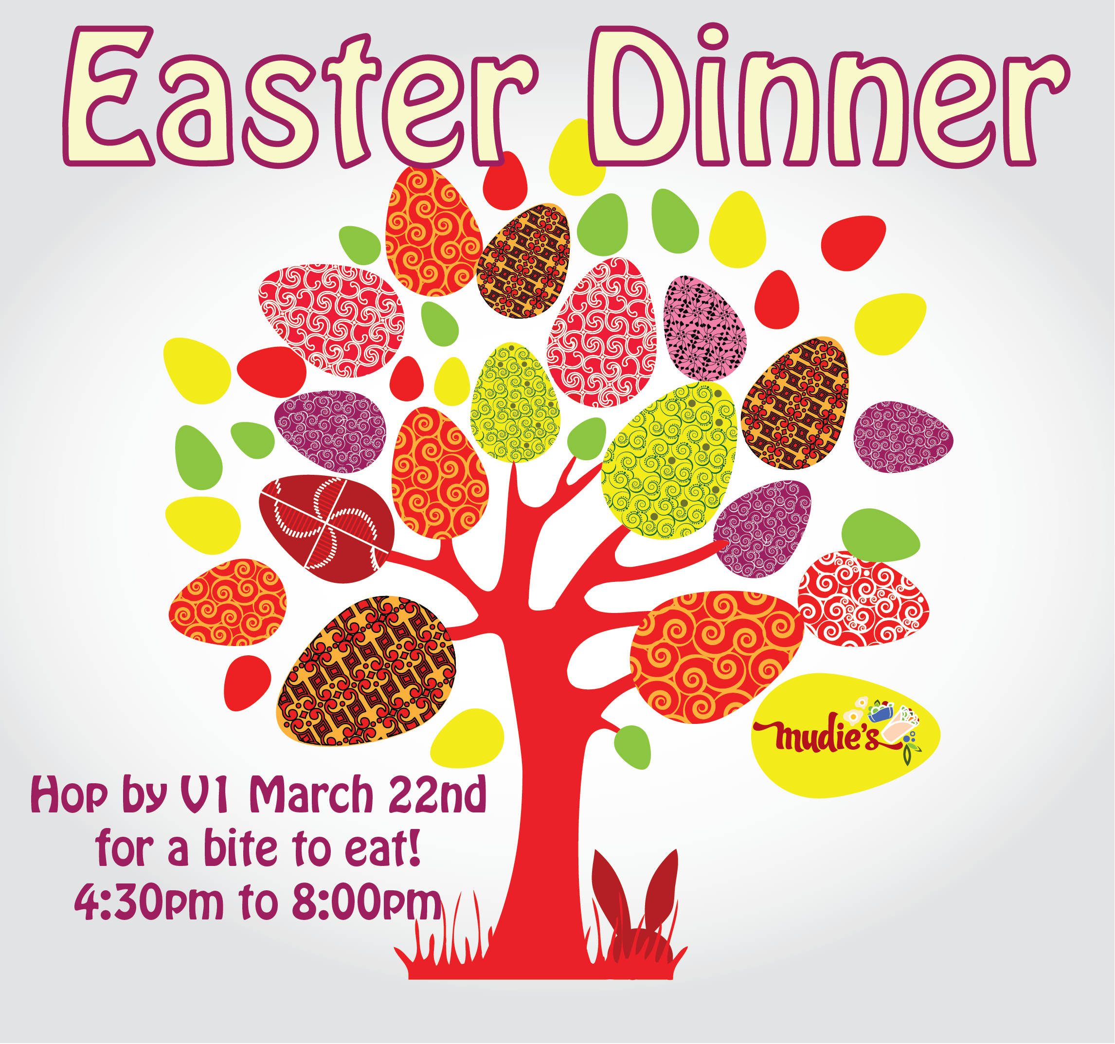 Easter Dinner Hop over to V1 March 22nd for Easter dinner
