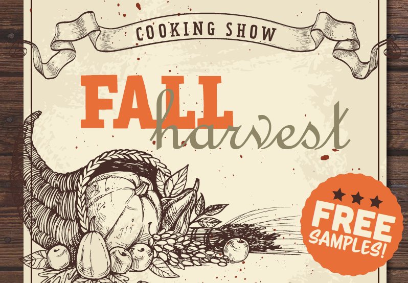 Poster for UW Food Services, Fall Harvest, Cooking show.