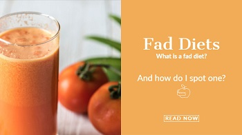 Image of a juice. With the titles of Fad diet.