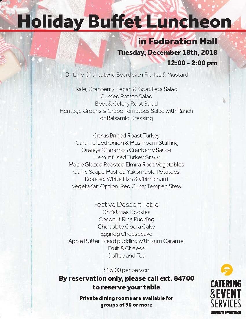Holiday Buffet Luncheon Menu