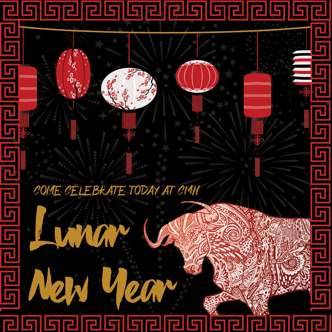 Lunar New Year image of ox and lanterns.