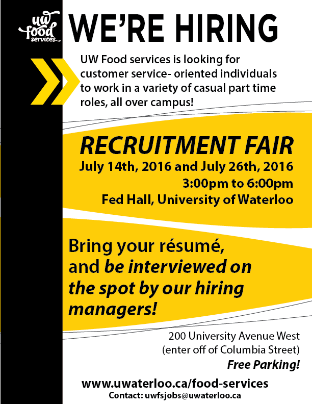 We're hiring UW Food Services is looking for customer service oriented individuals to work on a variety of different roles!