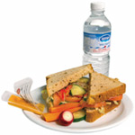 Sanwich with vegetables and water bottle