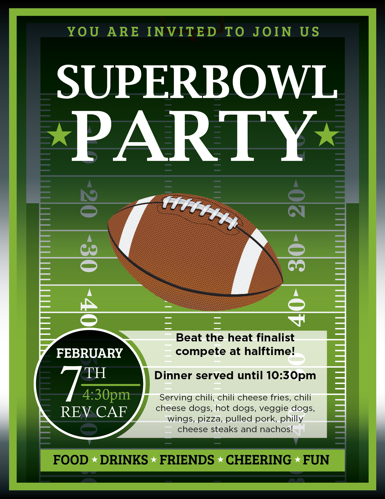 Superbowl party chili, fires, hot dogs & much more!