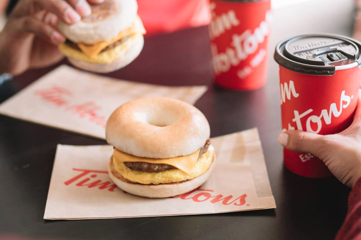 Tim Hortons breakfast bagel and coffee