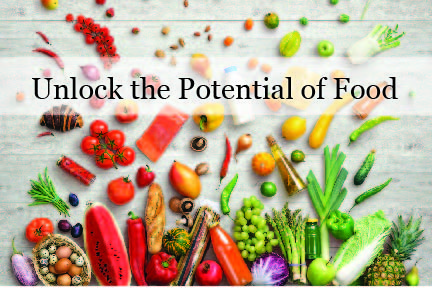 Unlock the potential of food with vegetables in the background