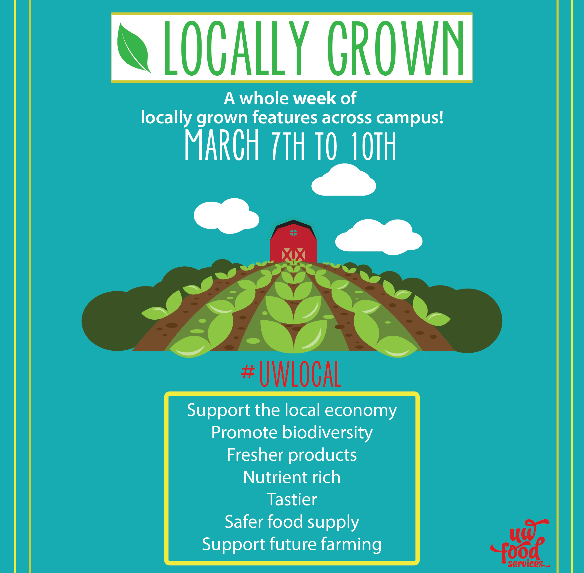 Check out our locally grown features across campus this week at UW Food Services locations