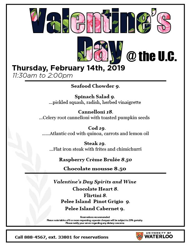 Valentine's Day menu for University Club