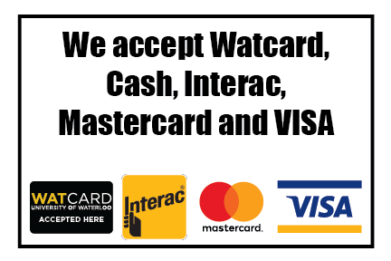we accept watcard cash interac mastercard and visa