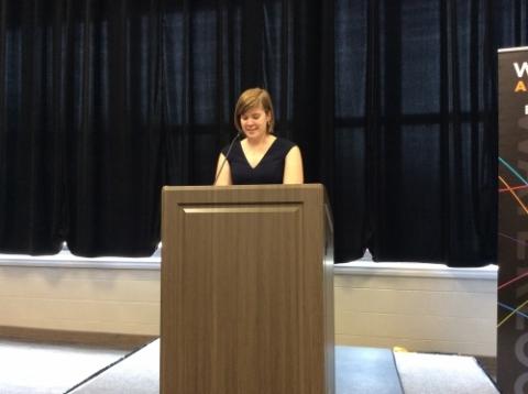 Elora presenting her valedictorian speech.