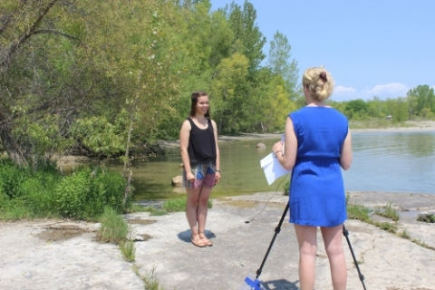 Research assistants shooting Youtube video