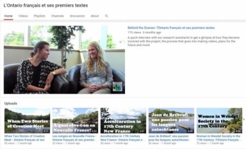 L'Ontario français et ses premiers textes Youtube Channel