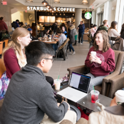 Students sitting in Starbucks at the University of Waterloo