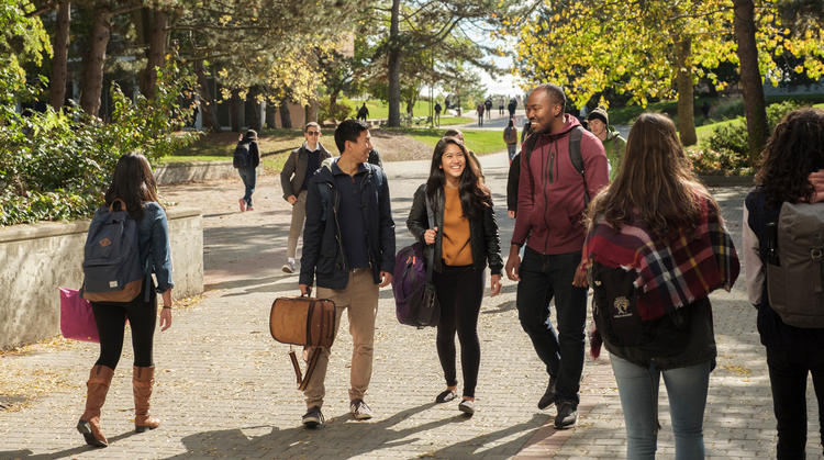Several students walking at the University of Waterloo on a fall day