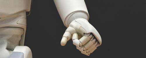 A robotic hand.