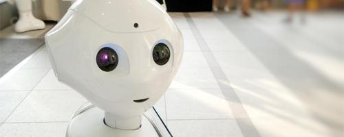 A robot head.