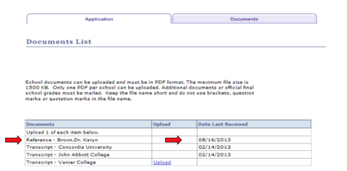 Screencapture of documents list, with arrows pointing out the reference row and corresponding date last received.