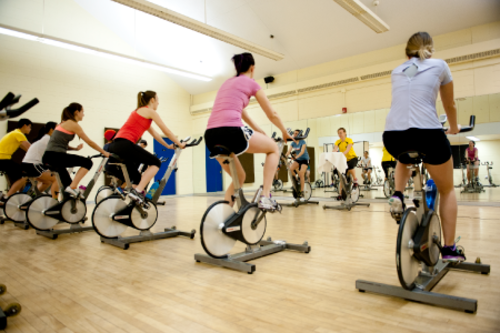 Students on bikes at spin class.