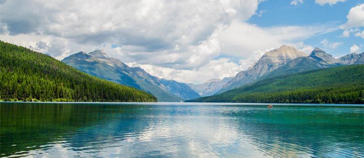 Mountains and a lake.