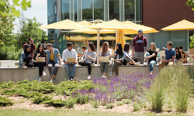 Bachelor of Arts degree students sitting under yellow umbrellas on a sunny day