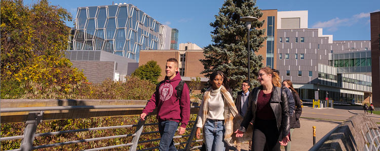 students walking by Quantum-Nano Centre, University of Waterloo