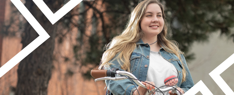 A Faculty of Environment student with her bike.