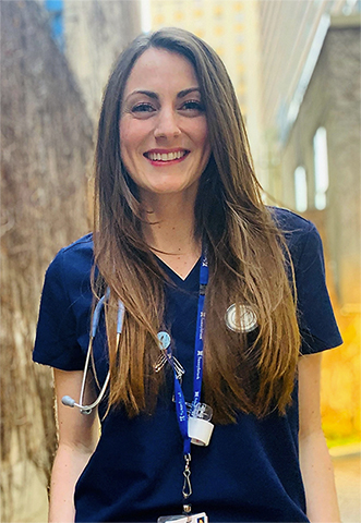 lauryanne wearing scrubs and stethoscope