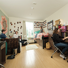 students in residence room