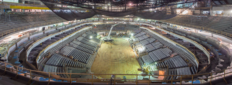 An interior shot of Rogers Place Edmonton under construction