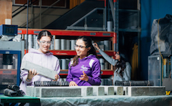 female engineering students working