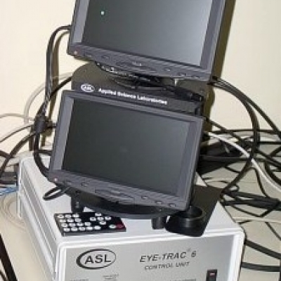 Eye tracking control system set up on a desk