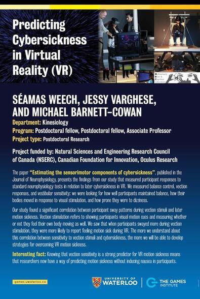 Predicting Cybersickness in VR poster