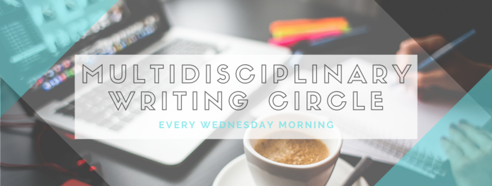multidisciplinary writing circle with coffee and laptop