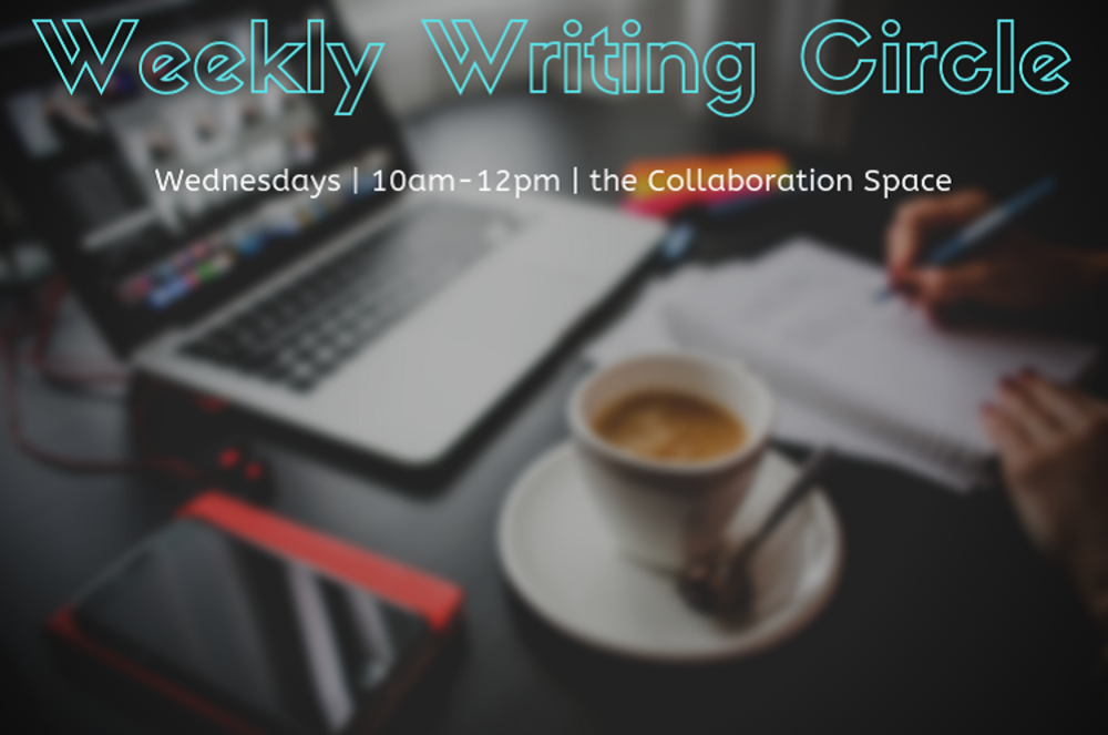 """computer, notebook, coffee, and iphone with title """"weekly writing circle"""""""