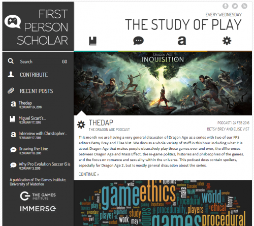 First Person Scholar home page