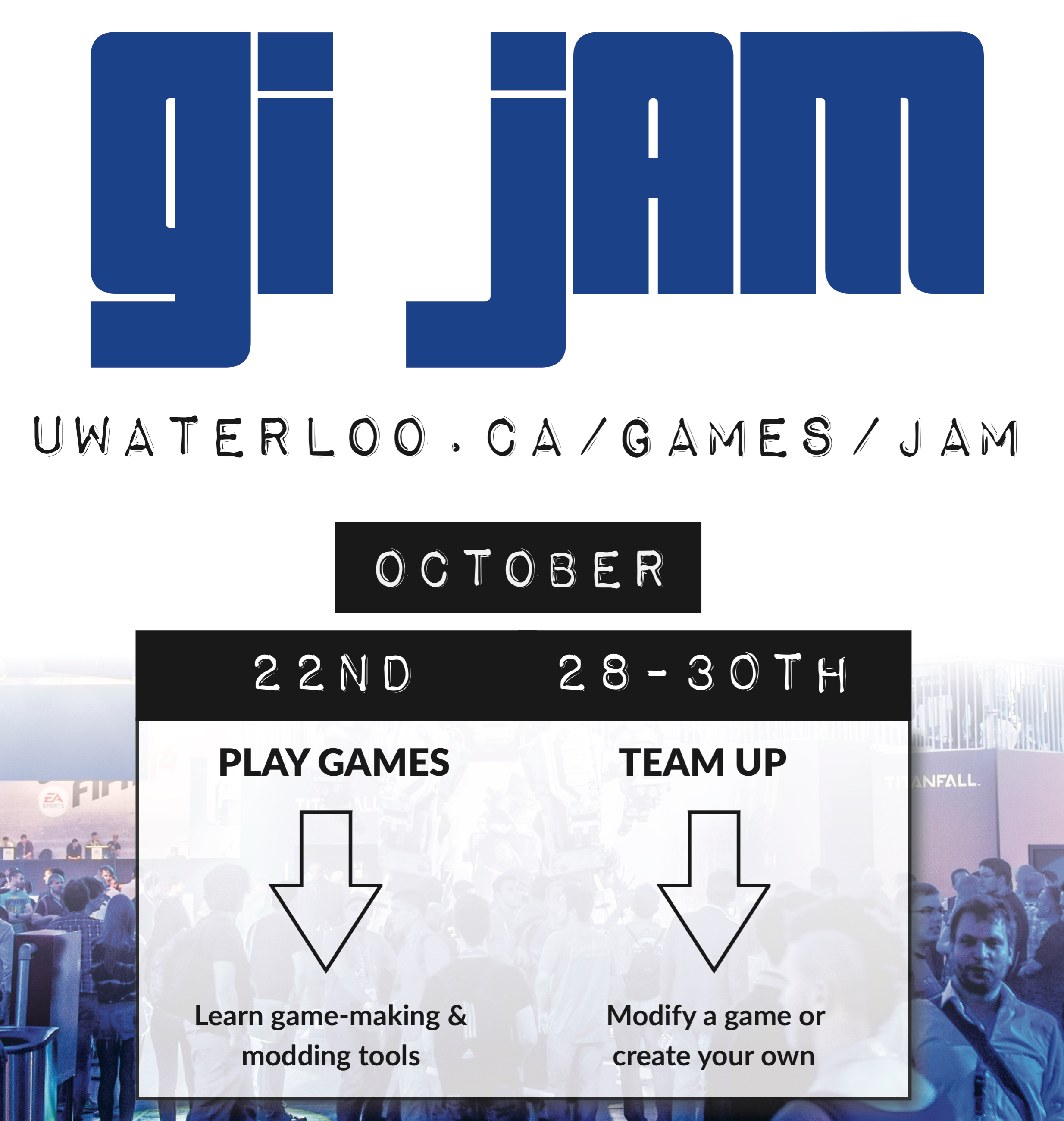 GI Jam Poster, events October 22nd and the weekend of the 28th