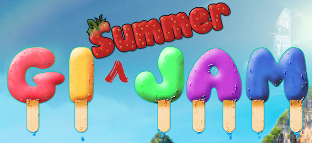 GI summer jam text logo