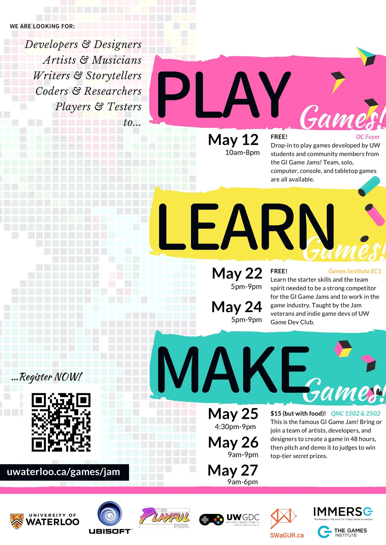 Spring 2018 Game Jam poster