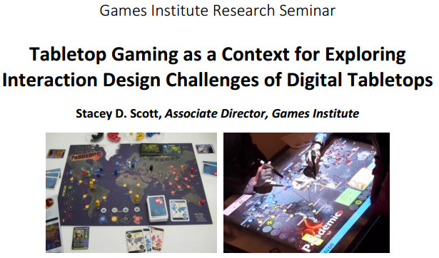 Stacey Scott tabletop gaming and computing research seminar.
