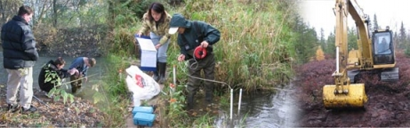 Three part image of researchers performing field work