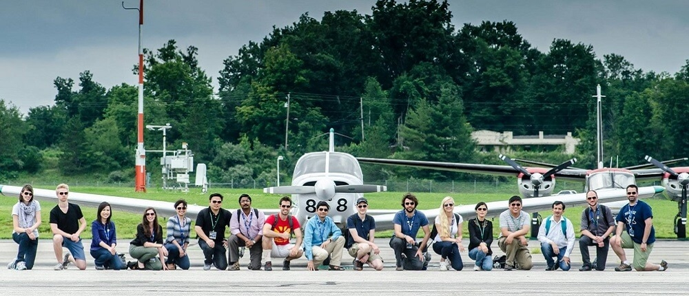 Members of Geography and Aviation program at the airport.