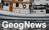GeogNews text embedded on picture of boat in water