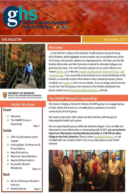 Front page of the GHS research group bulletin