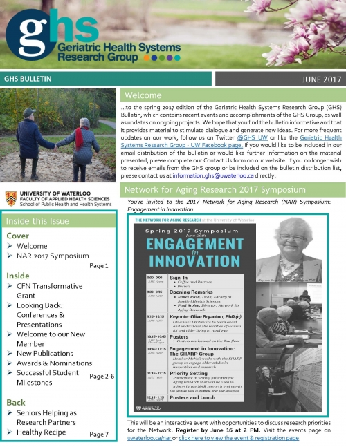 Front page of the GHS researchg roup spring bulletin