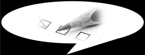 A speechbubble with a pencil and checkboxes.